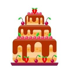 Cream birthday cake pie vector