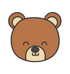Cute bear head toy on white background vector