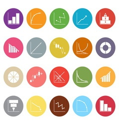 Diagram and graph flat icons on white background vector