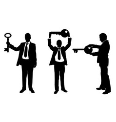 different people with keys vector image