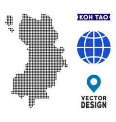 Dotted koh tao thai island map vector