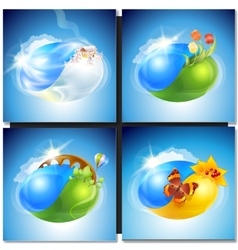 Eco concept planet nature vector