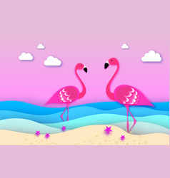 Elegant two pink birds - flamingo and lifebuoy in vector