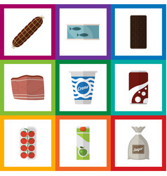 flat icon eating set of tin tuna confection vector image