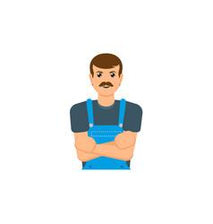 Flat mechanic man icon vector