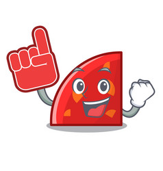 foam finger quadrant mascot cartoon style vector image