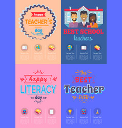 Four posters teachers day vector