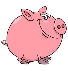 Funny pig character cartoon vector