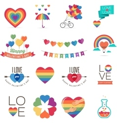 Gay Valentines day icons vector image