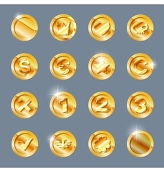 Gold coins set vector