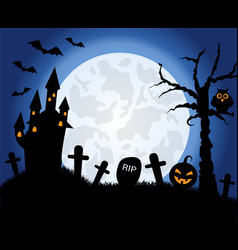 halloween symbols on background moon vector image