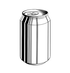 Hand drawn sketch aluminum can in black vector