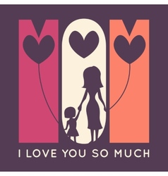 Happy mother day retro greeting card vector