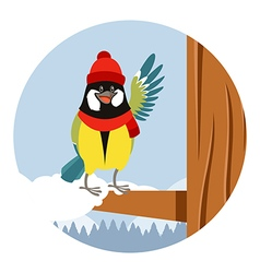 Happy titmouse with hat on the tree winter flat vector