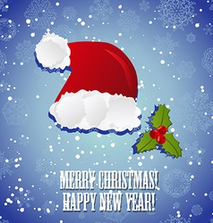 Hat of Santa Claus and mistletoe New Year greeting vector image