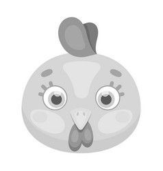 Hen muzzle icon in monochrome style isolated on vector