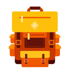 hiking backpack flat isolated vector image