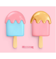 Ice cream 3d realistic objects vector
