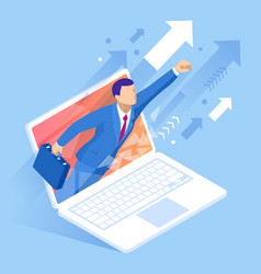 Isometric concept business mobile marketing and e vector