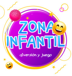 kids zone game banner design background zona vector image