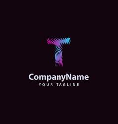 letter t modern wave line logo design template vector image