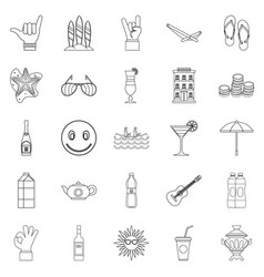 Low alcohol icons set outline style vector