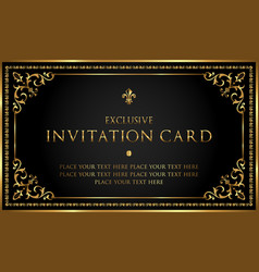 luxury invitation card in vintage style vector image