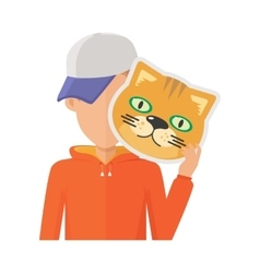Man with Cat Mask Flat Design vector image