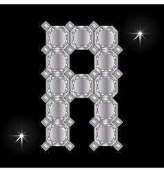 Metal letter R Gemstone Geometric shapes vector image