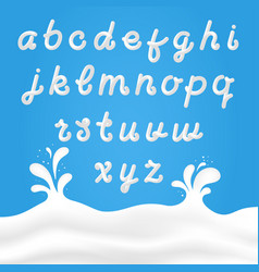 Milk font with latin letters white hand vector