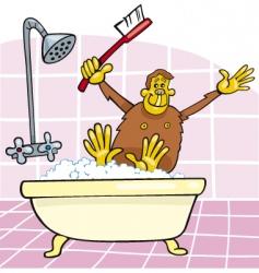 Monkey in bath vector