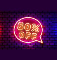 neon chat frame 50 off text banner night sign vector image