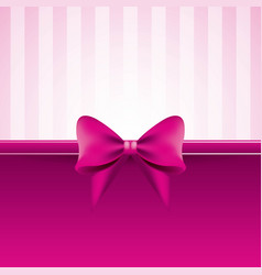 pink background with bow striped pattern vector image