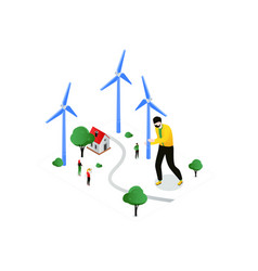 renewable energy - modern colorful isometric vector image