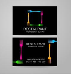 restaurant logo business card template vector image