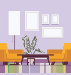 retro interior with frames for copy space vector image