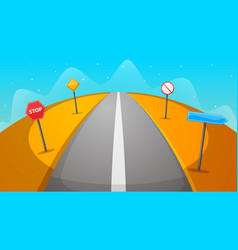 road sign cartoon desert landscape vector image