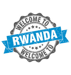 rwanda round ribbon seal vector image
