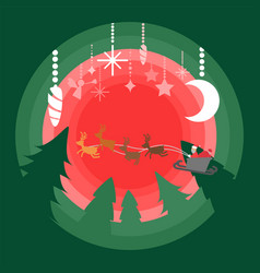 santa sleigh flying above green pine forest vector image