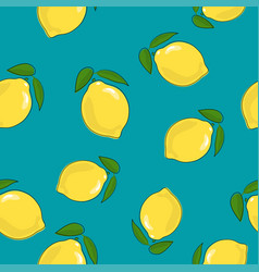 Seamless pattern lemon on azure background vector