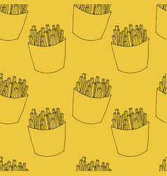 seamless pattern of french fries vector image