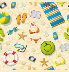 seamless pattern with summer accessories on beach vector image