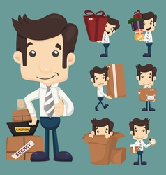 Set businessman moving office and packing in bo vector
