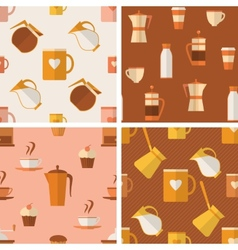 set seamless patterns with coffee items vector image