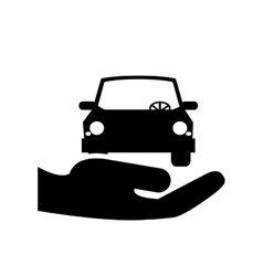 Sheltering hands and car icon vector