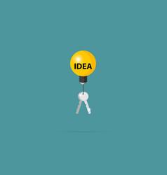 silver keys with lightbulb idea concept vector image