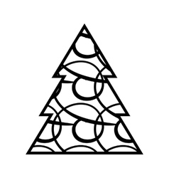 Simple Black Christmas Tree Icon vector
