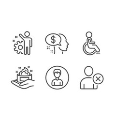 Skin care disabled and pay icons set employee vector
