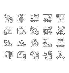 smart farming line icon set vector image