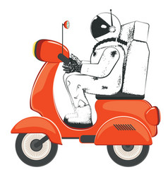 Spaceman riding scooter vector